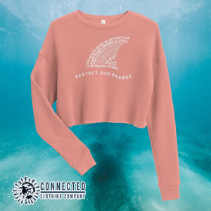 Mauve Protect Our Sharks Crop Sweatshirt - Connected Clothing Company - Ethically and Sustainably Made - 10% of profits donated to shark conservation and ocean conservation