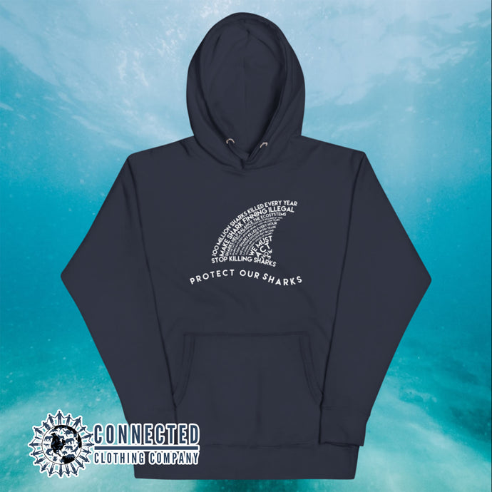Navy Protect Our Sharks Unisex Hoodie - Connected Clothing Company - Ethically and Sustainably Made - 10% donated to Oceana shark conservation
