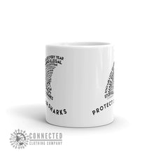 Load image into Gallery viewer, Front of Protect Our Sharks White Mug - Connected Clothing Company - Ethically and Sustainably Made - 10% donated to Oceana shark conservation
