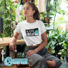 Load image into Gallery viewer, Model Wearing White Save Earth Short-Sleeve T-shirt - Connected Clothing Company - Ethically and Sustainably Made - 50% donated to WIRES Wildlife Rescue