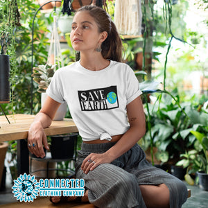 Model Wearing White Save Earth Short-Sleeve T-shirt - Connected Clothing Company - Ethically and Sustainably Made - 50% donated to WIRES Wildlife Rescue