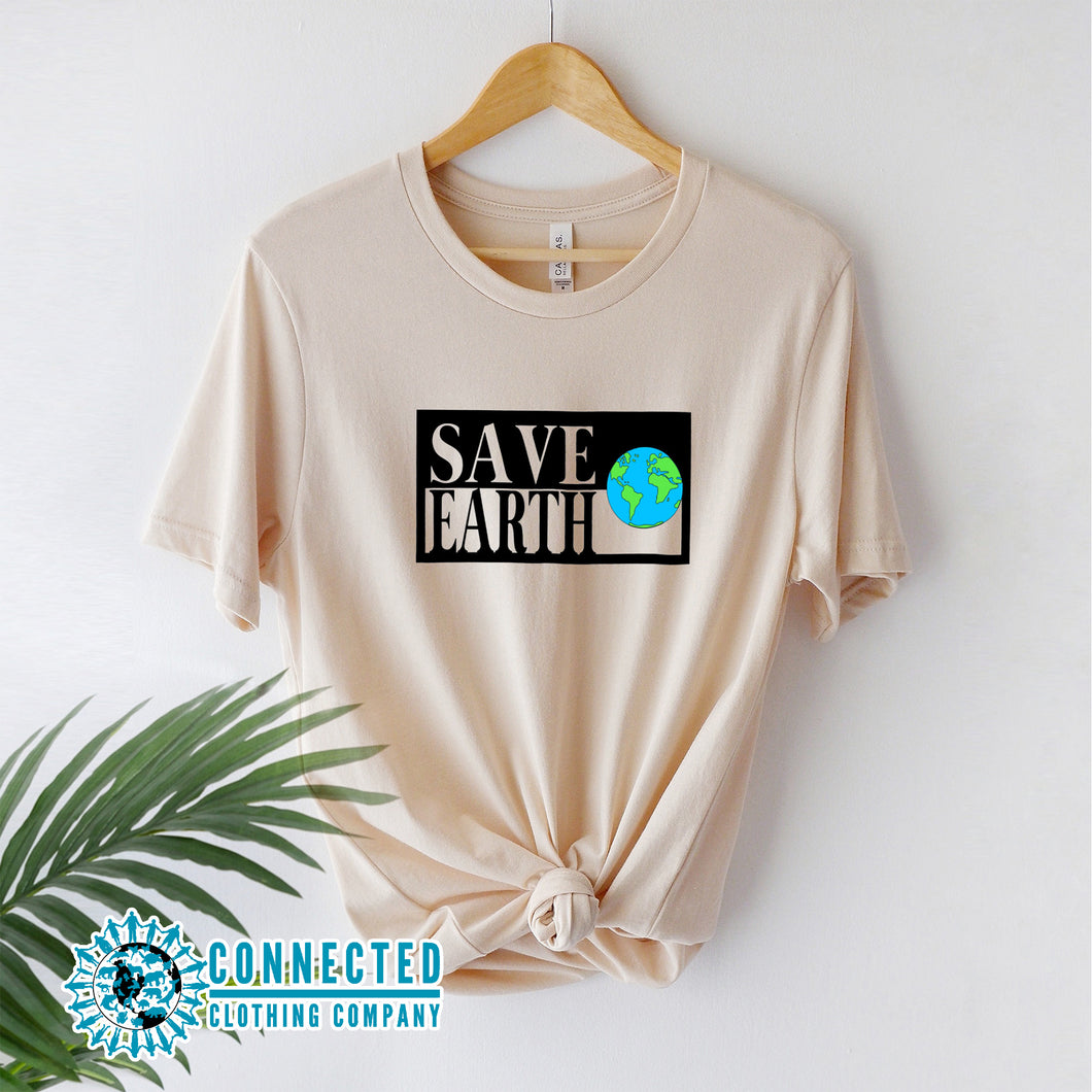 Soft Cream Save Earth Short-Sleeve T-shirt - Connected Clothing Company - Ethically and Sustainably Made - 50% donated to WIRES Wildlife Rescue