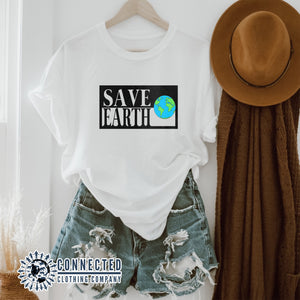 White Save Earth Short-Sleeve T-shirt - Connected Clothing Company - Ethically and Sustainably Made - 50% donated to WIRES Wildlife Rescue