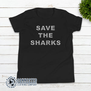 Black Save The Sharks Youth Short-Sleeve Tee - Connected Clothing Company - 10% of profits donated to Oceana shark conservation