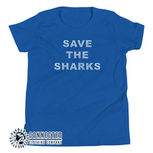 Load image into Gallery viewer, True Royal Blue Save The Sharks Youth Short-Sleeve Tee - Connected Clothing Company - 10% of profits donated to Oceana shark conservation