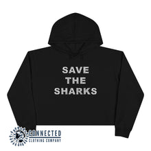 Load image into Gallery viewer, Black Save The Sharks Crop Hoodie - Connected Clothing Company - Ethically and Sustainably Made - 10% donated to Oceana shark conservation