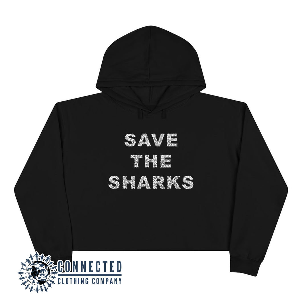 Black Save The Sharks Crop Hoodie - Connected Clothing Company - Ethically and Sustainably Made - 10% donated to Oceana shark conservation