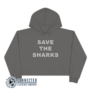 Storm Grey Save The Sharks Crop Hoodie - Connected Clothing Company - Ethically and Sustainably Made - 10% donated to Oceana shark conservation
