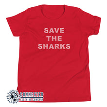 Load image into Gallery viewer, Red Save The Sharks Youth Short-Sleeve Tee - Connected Clothing Company - 10% of profits donated to Oceana shark conservation
