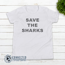 Load image into Gallery viewer, White Save The Sharks Youth Short-Sleeve Tee - Connected Clothing Company - 10% of profits donated to Oceana shark conservation