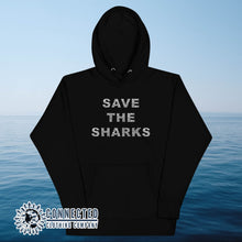 Load image into Gallery viewer, Black Save The Sharks Unisex Hoodie - Connected Clothing Company - Ethically and Sustainably Made - 10% donated to Oceana shark conservation