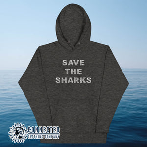 Charcoal Save The Sharks Unisex Hoodie - Connected Clothing Company - Ethically and Sustainably Made - 10% donated to Oceana shark conservation
