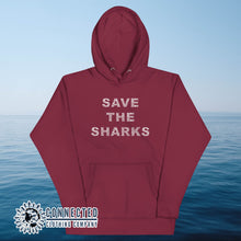 Load image into Gallery viewer, Maroon Save The Sharks Unisex Hoodie - Connected Clothing Company - Ethically and Sustainably Made - 10% donated to Oceana shark conservation