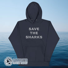 Load image into Gallery viewer, Navy Save The Sharks Unisex Hoodie - Connected Clothing Company - Ethically and Sustainably Made - 10% donated to Oceana shark conservation
