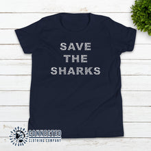 Load image into Gallery viewer, Navy Save The Sharks Youth Short-Sleeve Tee - Connected Clothing Company - 10% of profits donated to Oceana shark conservation