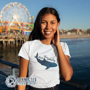 Model Wearing Sea The Beauty Short-Sleeve Tee - Connected Clothing Company - 10% of profits donated to ocean conservation