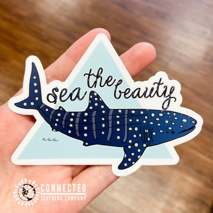 Sea The Beauty Whale Shark Sticker - Connected Clothing Company - 10% of profits donated to ocean conservation