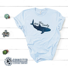 Load image into Gallery viewer, Sea The Beauty Short-Sleeve Tee in light blue - Connected Clothing Company - 10% of profits donated to ocean conservation