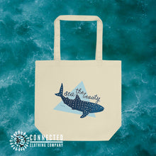 Load image into Gallery viewer, Oyster Sea The Beauty Whale Shark Organic Cotton Eco Tote Bag - Connected Clothing Company - Ethically and Sustainably Made - 10% donated to Mission Blue ocean conservation