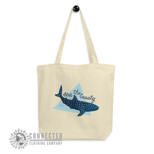 Hanging Oyster Sea The Beauty Whale Shark Organic Cotton Eco Tote Bag - Connected Clothing Company - Ethically and Sustainably Made - 10% donated to Mission Blue ocean conservation