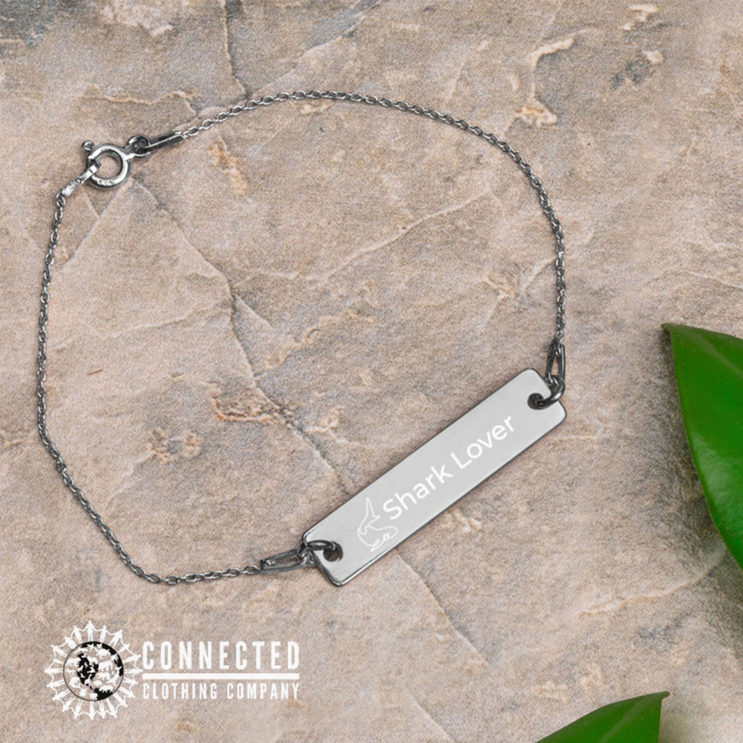 Black Rhodium Coated Shark Lover Engraved Bar Chain Bracelet (shark icon with shark lover written on a bracelet) - Connected Clothing Company - 10% of profits donated to Oceana shark conservation