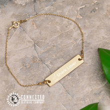 Load image into Gallery viewer, 24K Gold Coated Shark Lover Engraved Bar Chain Bracelet (shark icon with shark lover written on a bracelet) - Connected Clothing Company - 10% of profits donated to Oceana shark conservation