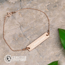 Load image into Gallery viewer, 18K Rose Gold Coated Shark Lover Engraved Bar Chain Bracelet (shark icon with shark lover written on a bracelet) - Connected Clothing Company - 10% of profits donated to Oceana shark conservation