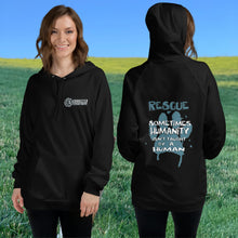 Load image into Gallery viewer, Model Wearing Black Show Humanity Unisex Hoodie - Connected Clothing Company - Ethically and Sustainably Made - 10% donated to