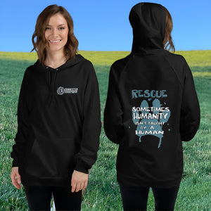 Model Wearing Black Show Humanity Unisex Hoodie - Connected Clothing Company - Ethically and Sustainably Made - 10% donated to