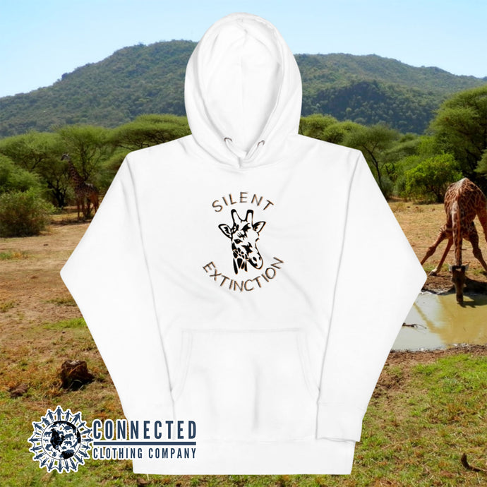 White Giraffe Silent Extinction Unisex Hoodie - Connected Clothing Company - 10% of profits donated to the Giraffe Conservation Foundation