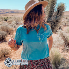 Load image into Gallery viewer, Aqua Skip The Straw Seahorse Tee (Seahorse holding onto straw while saying skip the straw) - Connected Clothing Company - Ethically and Sustainably Made - 10% donated to Mission Blue ocean conservation