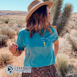 Aqua Skip The Straw Seahorse Tee (Seahorse holding onto straw while saying skip the straw) - Connected Clothing Company - Ethically and Sustainably Made - 10% donated to Mission Blue ocean conservation