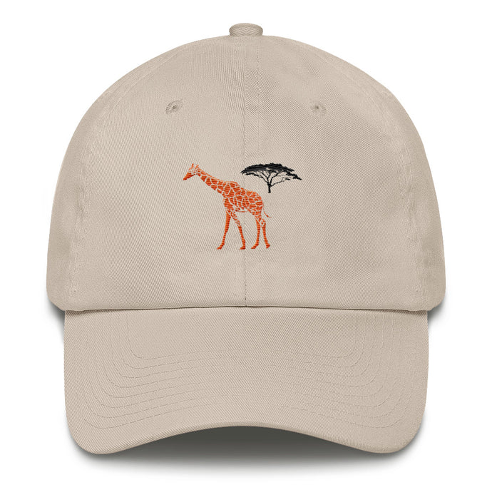 Front of Stone Giraffe Cotton Cap - Connected Clothing Company - 10% of profits donated to the Giraffe Conservation Foundation
