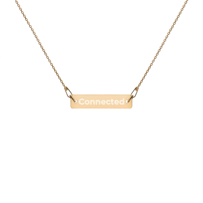 24K Gold Connected Engraved Bar Chain Necklace - Connected Clothing Company - 10% of profits donated to Mission Blue