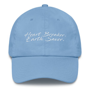 Front of Carolina Blue Heart Breaker. Earth Saver. Cotton Cap - Connected Clothing Company - 10% of profits donated to ocean conservation