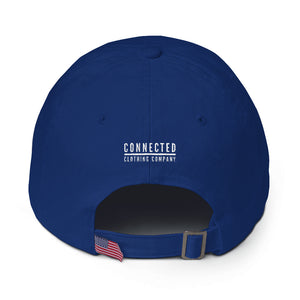 Back of Royal Blue Heart Breaker. Earth Saver. Cotton Cap - Connected Clothing Company - 10% of profits donated to ocean conservation