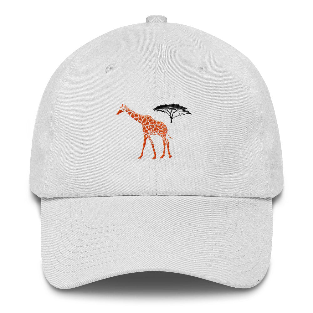 Front of White Giraffe Cotton Cap - Connected Clothing Company - 10% of profits donated to the Giraffe Conservation Foundation