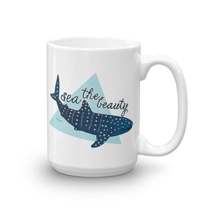 15 oz Sea The Beauty Whale Shark Mug - Connected Clothing Company - 10% of profits donated to ocean conservation
