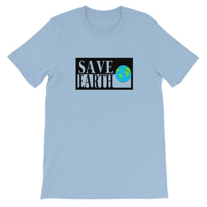 Light Blue Save Earth Short-Sleeve T-shirt - Connected Clothing Company - Ethically and Sustainably Made - 50% donated to WIRES Wildlife Rescue