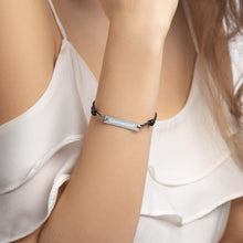 Load image into Gallery viewer, Model Wearing Black Rhodium Connected Engraved Bar String Bracelet - Connected Clothing Company - 10% of profits donated to Mission Blue