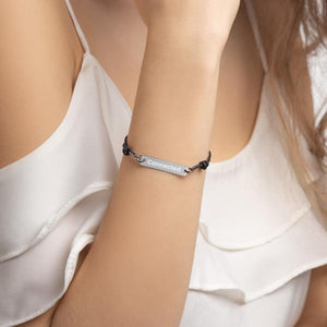 Model Wearing Black Rhodium Connected Engraved Bar String Bracelet - Connected Clothing Company - 10% of profits donated to Mission Blue