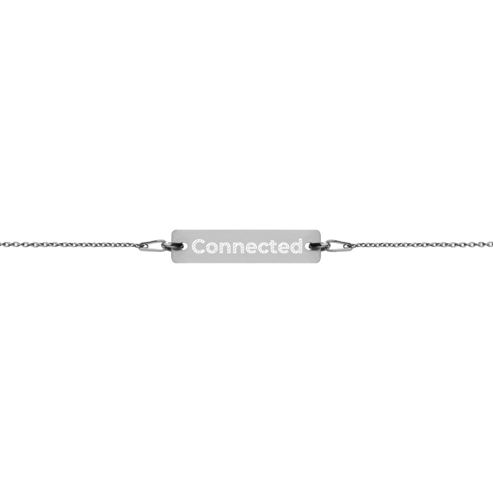 Black Rhodium Connected Engraved Bar Chain Bracelet - Connected Clothing Company - 10% of profits donated to Mission Blue