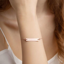 Load image into Gallery viewer, Model Wearing 18K Rose Gold Connected Engraved Bar Chain Bracelet - Connected Clothing Company - 10% of profits donated to Mission Blue