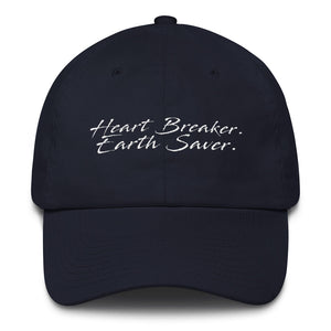 Front of Navy Heart Breaker. Earth Saver. Cotton Cap - Connected Clothing Company - 10% of profits donated to ocean conservation