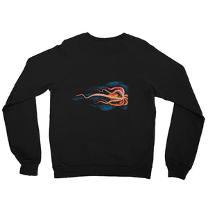 Octopus Unisex Raglan Sweatshirt - Connected Clothing Company - 10% of profits donated to marine conservation - Back of Sweatshirt shows printed octopus design
