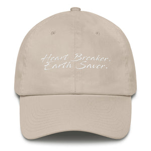 Front of Stone Heart Breaker. Earth Saver. Cotton Cap - Connected Clothing Company - 10% of profits donated to ocean conservation