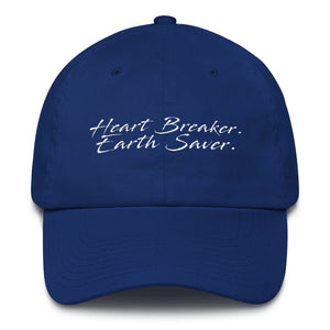 Front of Royal Blue Heart Breaker. Earth Saver. Cotton Cap - Connected Clothing Company - 10% of profits donated to ocean conservation
