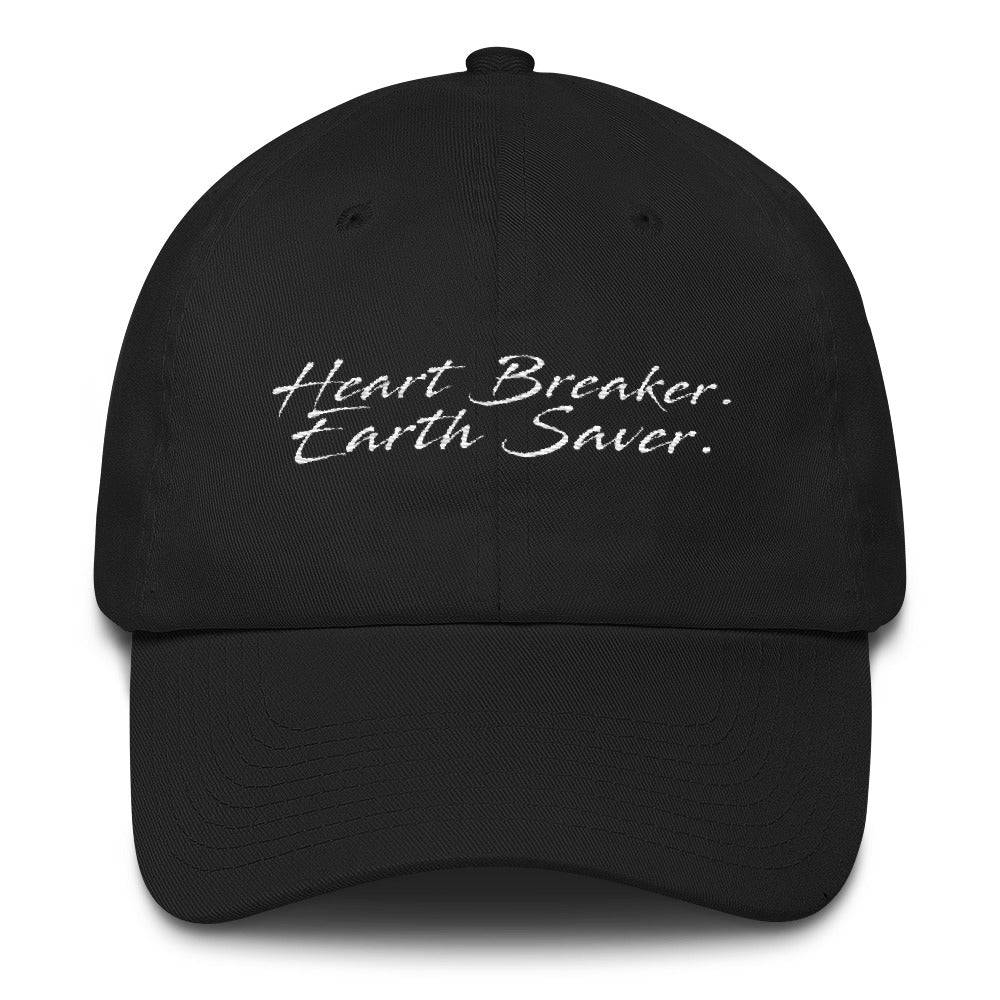 Front of Black Heart Breaker. Earth Saver. Cotton Cap - Connected Clothing Company - 10% of profits donated to ocean conservation