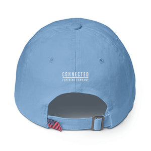 Back of Carolina Blue Heart Breaker. Earth Saver. Cotton Cap - Connected Clothing Company - 10% of profits donated to ocean conservation