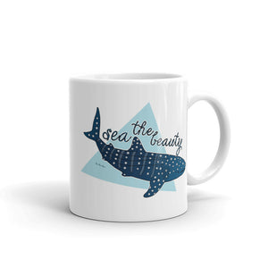 11 oz Sea The Beauty Whale Shark Mug - Connected Clothing Company - 10% of profits donated to ocean conservation
